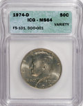 Kennedy Half Dollars, 1974-D 50C Variety MS64 ICG. FS-101 DDO-001. NGC Census: (136/161).PCGS Population (60/255). Mintage: 79,066,304. Numismed...