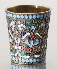 A RUSSIAN CLOISONNÉ ENAMEL AND SILVER GILT BEAKER Yakov Fedorovich Mishukov, Moscow, Russia, circa 1890 Marks:...