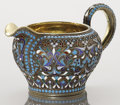 Silver Holloware, Continental:Holloware, A RUSSIAN CLOISONNÉ ENAMEL AND SILVER GILT CREAMER. Unidentifiedmaker, Moscow, Russia, circa 1890. Marks: 84, (Moscow),...