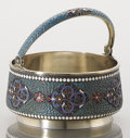 Silver Holloware, Continental:Holloware, A RUSSIAN CLOISONNÉ ENAMEL AND SILVER GILT SUGAR BOWL. GustavKlingert, Moscow, Russia, 1894. Marks: AA (over) 1894,8...