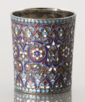 Silver Holloware, Continental:Holloware, A RUSSIAN CLOISONNÉ ENAMEL AND SILVER GILT CUP. Unidentified maker,Moscow, Russia, 1896. Marks: LO (in Cyrillic) (over)...