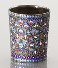 Silver Holloware, Continental:Holloware, A RUSSIAN CLOISONNÉ ENAMEL AND SILVER GILT CUP. Unidentified maker,Moscow, Russia, circa 1895. Marks: O (over) B (i...