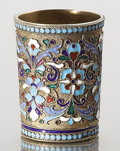 Silver Flatware, Continental, A RUSSIAN CLOISONNÉ ENAMEL AND SILVER GILT BEAKER. Unidentified maker, Moscow, Russia, circa 1890. Marks: (delta), (right fa...