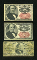 Fractional Currency:Fifth Issue, Fr. 1309 25c Fifth Issue. Two Examples. Fine or Better.... (Total:3 notes)