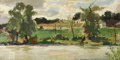 Fine Art - Painting, Russian:Modern (1900-1949), NIKOLAI NIKOLAYEVICH VOLKOV (20th Century). Landscape(double-sided). Oil on artist board. 10 x 18-3/4 inches (25.4 x4...