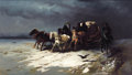 Fine Art - Painting, Russian, PETR NIKOLAEVICH GRUZINSKY (Russian, 1837-1892). Wagon inSnow. Oil on canvas. 15-3/4 x 27 inches (40.0 x 68.6 cm).Sign...