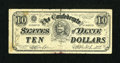 Confederate Notes:Group Lots, Confederate Play Money $10 circa 1960s.. ...
