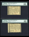 Colonial Notes:Rhode Island, Rhode Island July 2, 1780 $3 PMG Choice Uncirculated 64.. RhodeIsland July 2, 1780 $8 PMG Choice Uncirculated 63 EPQ.... (Total: 2notes)