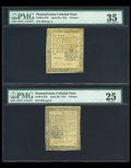 Colonial Notes:Pennsylvania, Two April 1781 notes.... (Total: 2 notes)