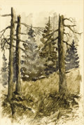 Fine Art - Work on Paper, IVAN IVANOVICH ENDOGROUROFF (Russian, 1861-1898). Forest. Watercolor. 6 x 4 inches (15.2 x 10.2 cm). Signed lower right ...