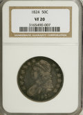 Bust Half Dollars: , 1824 50C VF20 NGC. NGC Census: (7/654). PCGS Population (7/631).Mintage: 3,504,954. Numismedia Wsl. Price for NGC/PCGS coi...