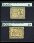 Colonial Notes:Continental Congress Issues, Continental Currency Trio PMG Graded.... (Total: 3 notes)