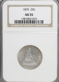 Seated Quarters: , 1875 25C AU55 NGC. NGC Census: (6/233). PCGS Population (18/207).Mintage: 4,293,500. Numismedia Wsl. Price for NGC/PCGS co...