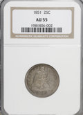 Seated Quarters: , 1851 25C AU55 NGC. NGC Census: (6/14). PCGS Population (3/19).Mintage: 160,000. Numismedia Wsl. Price for NGC/PCGS coin in...