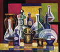 Fine Art - Painting, Russian, IVAN KLYUN (Russian, 1870-1942). Still Life with Bottles.Oil on board. 23 x 26-3/4 inches (58.4 x 67.9 cm). Signed lowe...