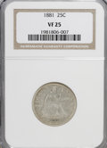 Seated Quarters: , 1881 25C VF25 NGC. NGC Census: (1/87). PCGS Population (0/105).Mintage: 12,000. Numismedia Wsl. Price for NGC/PCGS coin in...