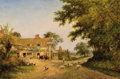 Fine Art - Painting, European:Antique  (Pre 1900), WALTER WALLOR CAFFYN (British, 1845-1898). Untitled (VillageScene), 1894. Oil on canvas. 16 x 24-1/4 inches (40.6 x 61....