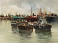 Miscellaneous, E.B. DE ANGELIS (20th Century). Fishing Boats at Anchor. Oil on canvas. 12 x 16 inches (30.5 x 40.6 cm). Signed lower ri...