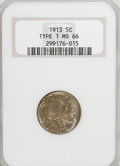 Buffalo Nickels: , 1913 5C Type One MS66 NGC. NGC Census: (1120/263). PCGS Population(1541/385). Mintage: 30,993,520. Numismedia Wsl. Price f...