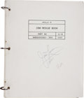 Explorers:Space Exploration, Apollo 13 Flown CSM Rescue Book Signed by and from the Personal Collection of Mission Commander James Lovell....