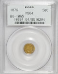 California Fractional Gold: , 1876 50C Indian Round 50 Cents, BG-1065, R.5, MS64 PCGS. PCGSPopulation (9/5). NGC Census: (3/0). (#10894)...
