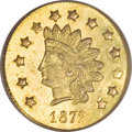 California Fractional Gold, 1872 $1 Indian Round 1 Dollar, BG-1207, R.4, MS62 PCGS....