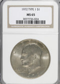 Eisenhower Dollars, 1972 $1 Type One MS65 NGC. PCGS Population (202/4). Numismedia Wsl. Price for NGC/PCGS coin in MS65: $1...