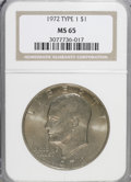 Eisenhower Dollars, 1972 $1 Type One MS65 NGC. PCGS Population (196/4). Numismedia Wsl. Price for NGC/PCGS coin in MS65: $1...