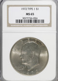 Eisenhower Dollars, 1972 $1 Type One MS65 NGC. PCGS Population (196/4). Numismedia Wsl. Price for NGC/PCGS coin in MS65: $2...