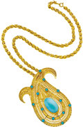 Estate Jewelry:Necklaces, Turquoise, Gold Pendant-Brooch Necklace. ... (Total: 2 Items)