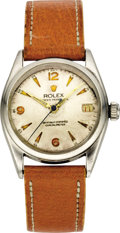 Timepieces:Wristwatch, Rolex Stainless Steel Early 3/4 Size Wristwatch, circa 1930 . ...