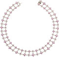 Estate Jewelry:Necklaces, Pink Sapphire, Diamond, White Gold Necklace. ...