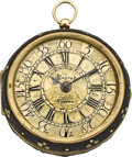 Timepieces:Pocket (pre 1900) , Daniel Quare London Gold and Shagreen Pair Cased Pocket Watch,circa 1705. ...