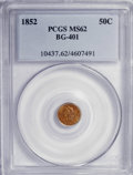 California Fractional Gold: , 1852 50C Liberty Round 50 Cents, BG-401, R.3, MS62 PCGS. PCGSPopulation (29/37). NGC Census: (2/5). (#10437)...