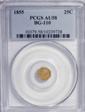 California Fractional Gold: , 1855 25C Liberty Octagonal 25 Cents, BG-110, High R.4, AU58 PCGS.PCGS Population (8/75). NGC Census: (0/6). (#10379)...