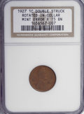 Errors, 1927 1C Lincoln Cent Double Struck Rotated in Collar F15 BN NGC. ...