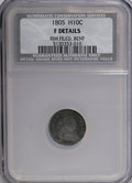 Early Half Dimes: , 1805 H10C --Bent, Rim Filed--NCS. Fine Details. NGC Census: (0/17).PCGS Population (2/40). Mintage: 15,600. Numismedia Wsl....
