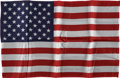 Explorers:Space Exploration, Gemini 7 Flown Large-Size American Flag Signed by and from thePersonal Collection of Mission Pilot James Lovell....