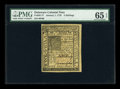 Colonial Notes:Delaware, Delaware January 1, 1776 5s PMG Gem Uncirculated 65 EPQ....