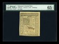 Colonial Notes:Delaware, Delaware January 1, 1776 6s PMG Gem Uncirculated 65 EPQ....