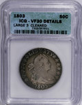 Early Half Dollars: , 1803 50C Large 3--Cleaned--ICG. VF30 Details. NGC Census: (22/181).PCGS Population (40/147). Mintage: 188,234. Numismedia ...