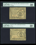 Colonial Notes:Continental Congress Issues, Continental Currency Assortment PMG Graded.... (Total: 5 notes)