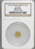 California Fractional Gold: , ND 25C Liberty Round 25 Cents, BG-834, High R.5, MS63 ProoflikeNGC. (#710695)...