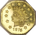 California Fractional Gold, 1876/5 $1 Indian Octagonal 1 Dollar, BG-1128, R.5, MS64 Deep MirrorProoflike NGC....