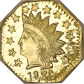 California Fractional Gold, 1874 50C Indian Octagonal 50 Cents, BG-958, High R.6, MS67 DeepMirror Prooflike NGC....