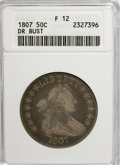 Early Half Dollars: , 1807 50C Draped Bust F12 ANACS. NGC Census: (45/646). PCGSPopulation (31/791). Mintage: 301,076. Numismedia Wsl. Price for...