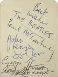 Music Memorabilia:Autographs and Signed Items, Beatles Band Signed Autograph Book (1962)....