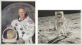 Autographs:Celebrities, Buzz Aldrin: Two Color Photos Signed, One Mentions his Communion on the Moon. This lot contains two NASA lithographed prints... (Total: 2 Items)