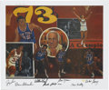 Basketball Collectibles:Others, 1973 New York Knicks Team Signed Lithograph, Artist's Proof....
