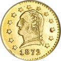 California Fractional Gold, 1872 25C Washington Round 25 Cents, BG-818, Low R.4, MS64 NGC....